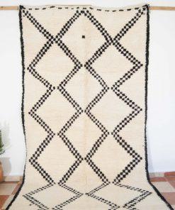 5×10 Akbabu Beni ourain rug , The Authentic Black and White rug, The Moroccan Minimalist Berber White Area rug.