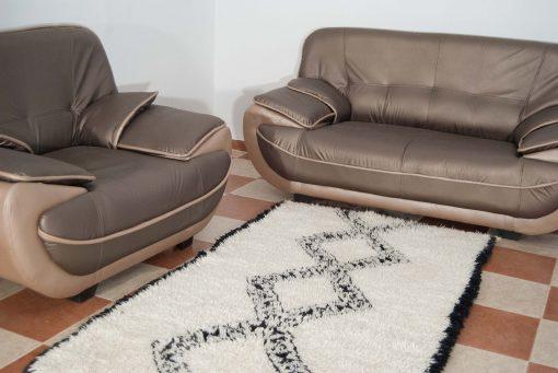 Tapis Beni ourain 200 x 60, Le tapis authentique noir et blanc, Le tapis marocain minimaliste