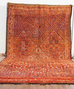 Moroccan rug 6'x11′ vintage beni mguild rug, orange red genuine moroccan rug.