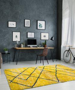 Yellow Modern Beni ourain Moroccan Rug contemporary art